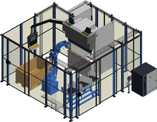 Komplett och körklar robotcell för kantpressning